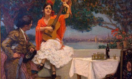 """""""Gitana y torero con el Guadalquivir al fondo"""" (hacia 1920), de Gonzalo Bilbao"""