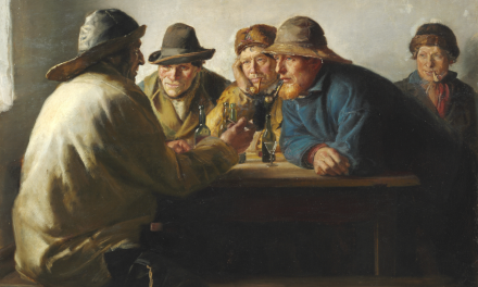 """""""Pescadores alrededor de una mesa beben"""" (1886), de Michael Ancher"""