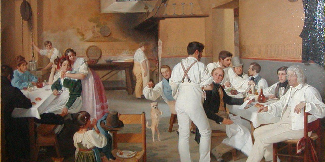 """""""Artistas daneses en una hostería romana"""" (1837), de Ditlev Blunck"""