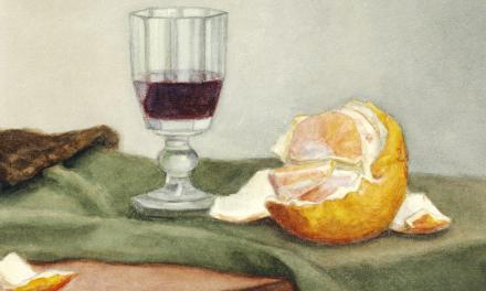 """""""Copa de vino y naranja pelada sobre un paño verde sobre una mesa"""" (1878), de Vilhelm Hammershøi"""