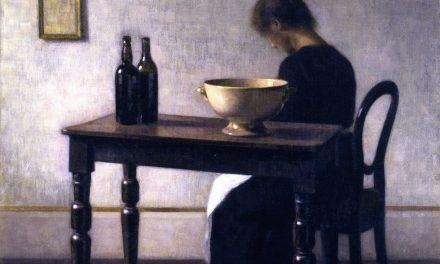 """""""Interior con una mujer sentada en una mesa"""" (1896), de Vilhelm Hammershøi"""