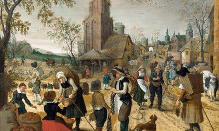 """""""Otoño, escena de mercado en el corazón de un pueblo"""" (1620-1622), de Sebastian Vrancx"""