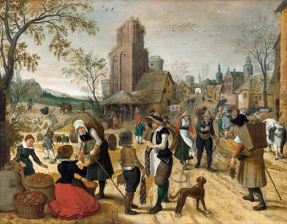 AUTUMN, MARKET SCENE IN THE HEART OF A VILLAGE