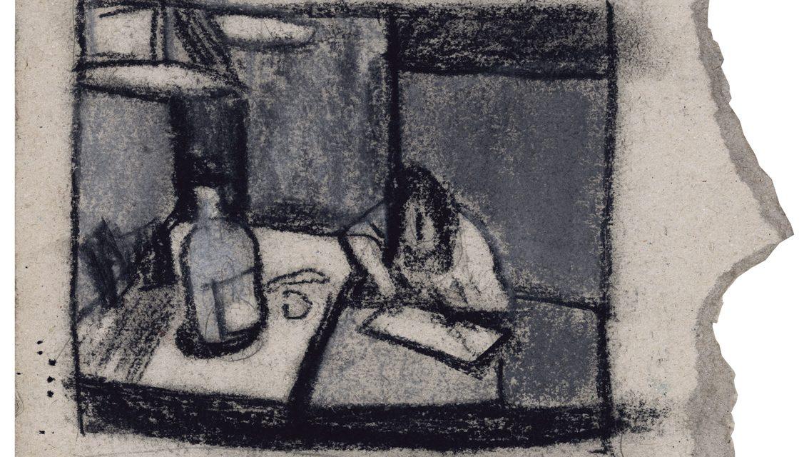 """""""Autorretrato con botella"""" (1987), de Enrique Collar"""