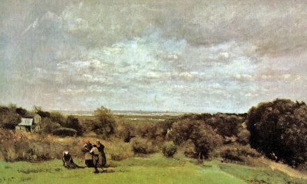 """La cosecha en Sèvres"" (1865), de Camille Corot"