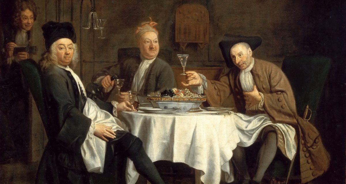 """Los bebedores de vino"" (1729), de Jacques Autreau"
