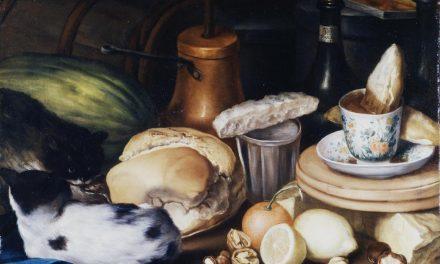 """""""Bodegón de merienda con chocolate, jícara y azucarillo, caja de dulce, vasos, pan, nueces, frutas y dos gatos"""" (1745), de Juan Pedro Peralta"""