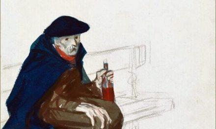 """""""Parisino con una botella de vino y un trozo de pan"""" (1906), de Edward Hopper"""