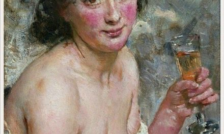 """Mujer bebiendo champagne"" (1881), de Hans Heyerdahl"