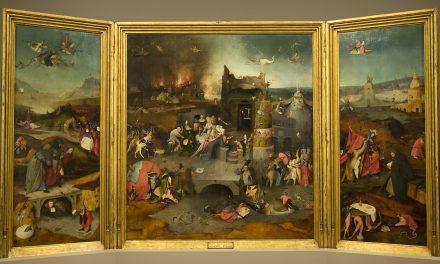 """""""San Antonio meditando, del tríptico de las Tentaciones de san Antonio"""" (1501), de El Bosco"""