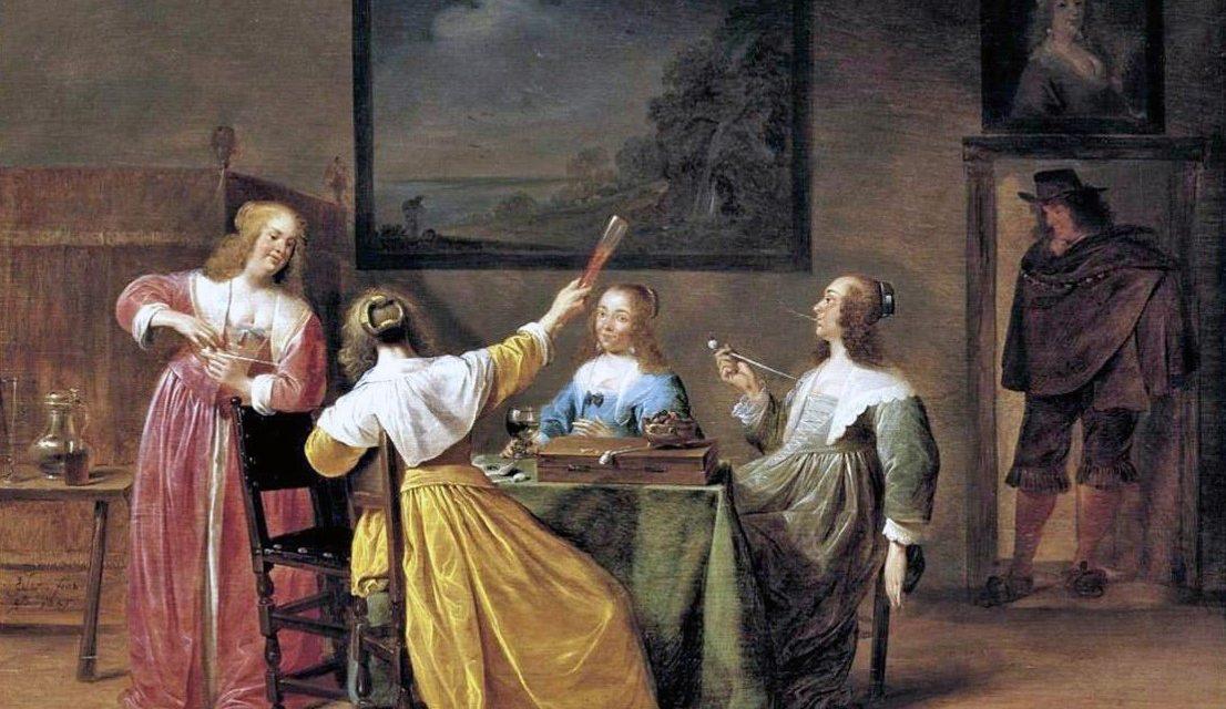 """""""Mujeres elegantemente vestidas bebiendo y fumando"""" (1641), de Jan Olis"""