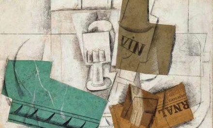 """""""Bodegón con copa y botella de vino, cajetilla de tabaco y periódico"""" (1914), de Pablo Picasso"""