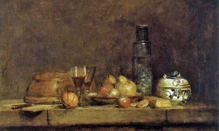 """""""Bodegón con frasco de aceitunas"""" (1760), de Jean-Baptiste-Siméon Chardin"""