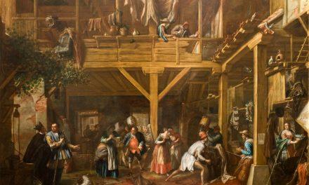"""""""Don Quijote en su batalla con los pellejos de vino"""" (hacia 1725), de Valero Iriarte"""