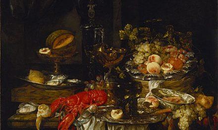 """Naturaleza muerta de un banquete con un ratón"" (1667), de Abraham van Beyeren"