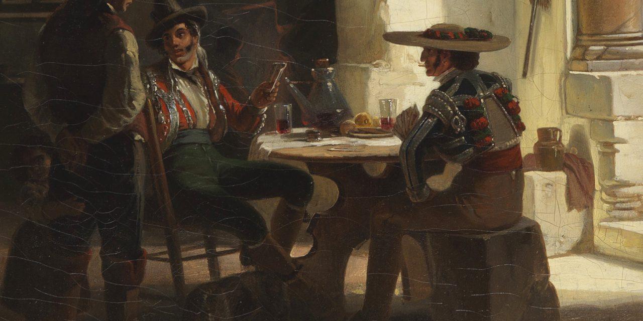 """""""Picadores en una taberna andaluza al pie de la Alhambra de Granada"""" (1842), de Wilhelm Gail"""