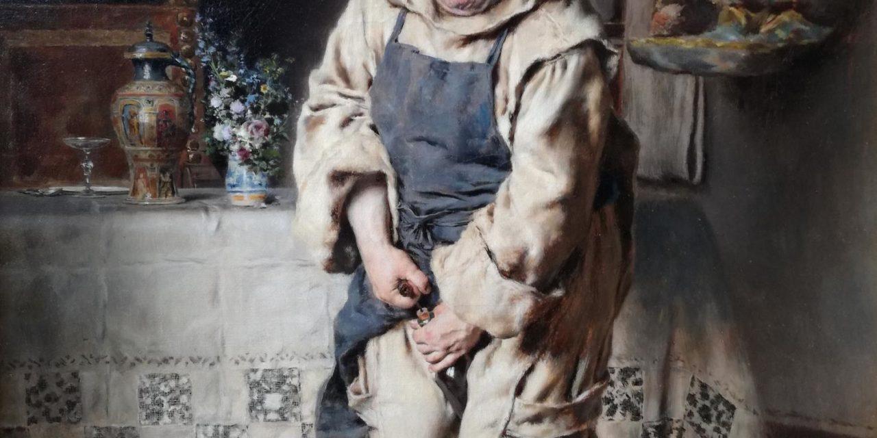 """""""Descorchando la botella"""" (1886), de Antonio Casanova y Estorach"""