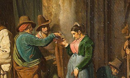 """""""Un escrutador público leyendo una carta  a una chica joven"""" (1827), de Ernst Meyer"""