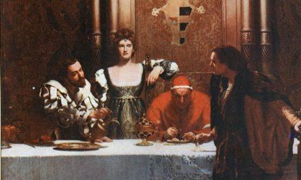"""""""Una copa de vino con César Borgia y el Papa"""" (1896), de John Collier"""