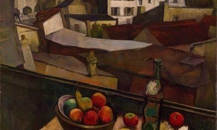 """""""Cuchillo y frutas en frente de una ventana"""" (1917), de Diego Rivera"""