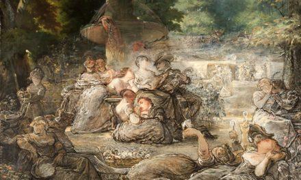 """""""Parejas bebiendo en un jardín con acompañamiento musical"""" (1865), de Leopoldo Sánchez del Bierzo"""