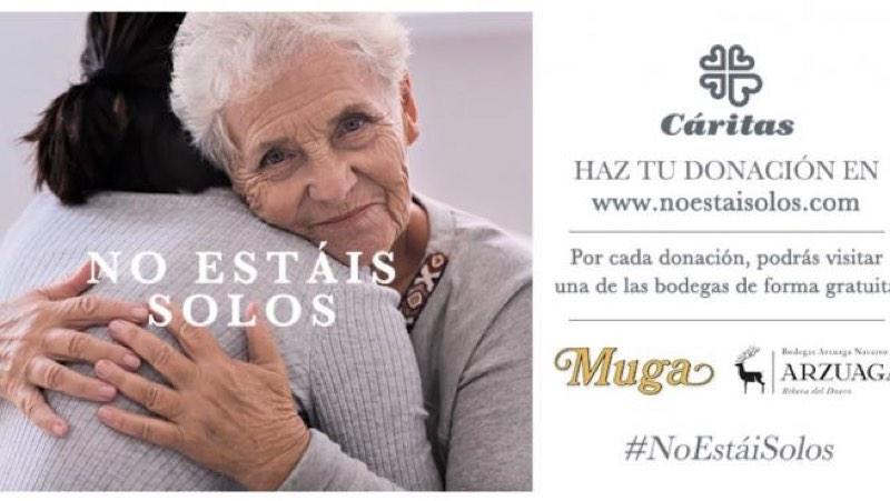 """Arzuaga y Muga lanzan la iniciativa """"no estais solos"""", apoyando a Cáritas en su campaña contra el coronavirus"""