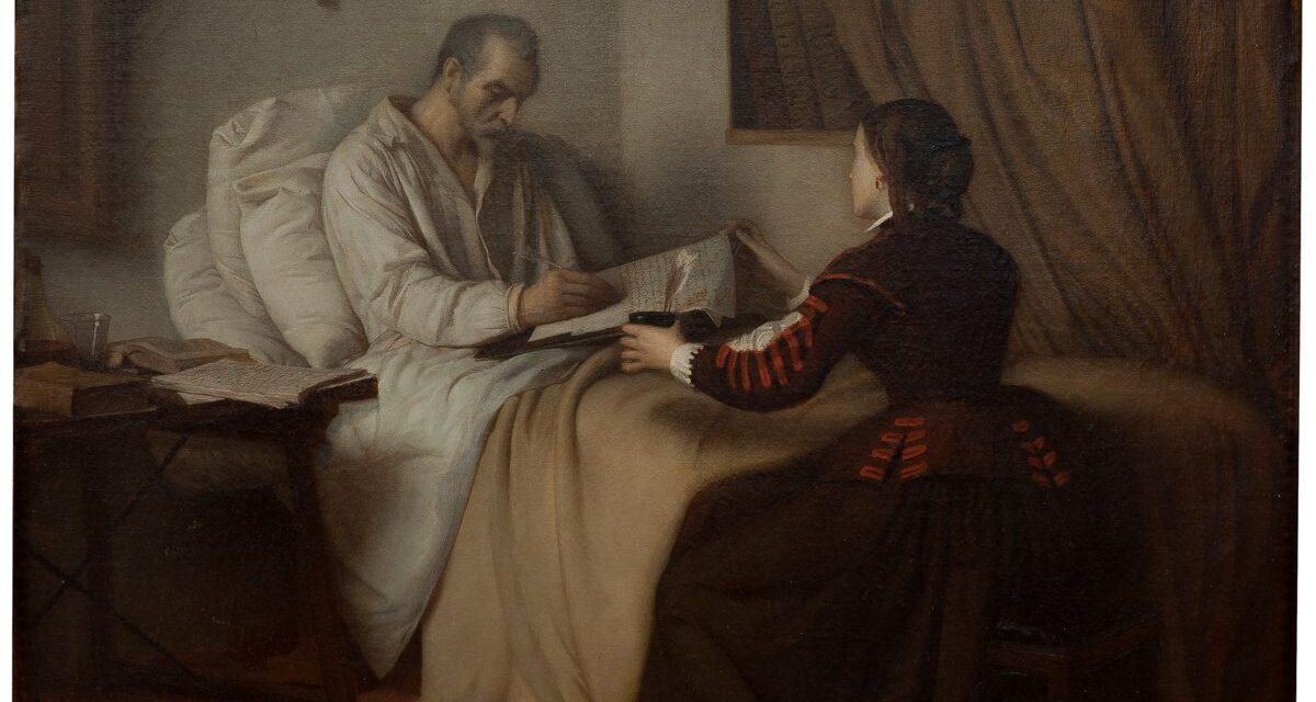 """""""Últimos momentos de Cervantes"""" (1856), de Víctor Manzano y Mejorada"""