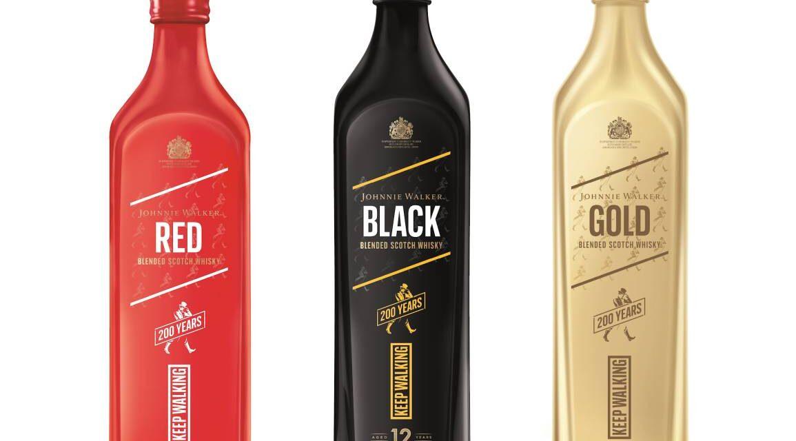 Johnnie Walker presenta un trío de botellas de edición limitada para celebrar los 200 años de la marca