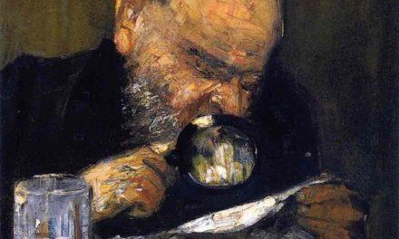"""""""Lector con lupa"""" (1895), de Lesser Ury"""