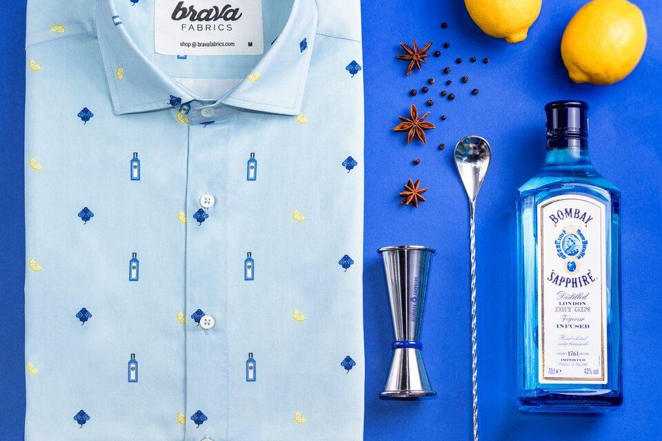 Bombay Sapphire se una a Brava Fabrics para crear una camisa basada en la esencia y los botánicos de la icónica ginebra