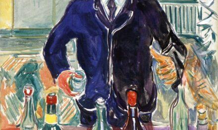 """Autoretrato con botellas"" (1938), de Edvard Munch"