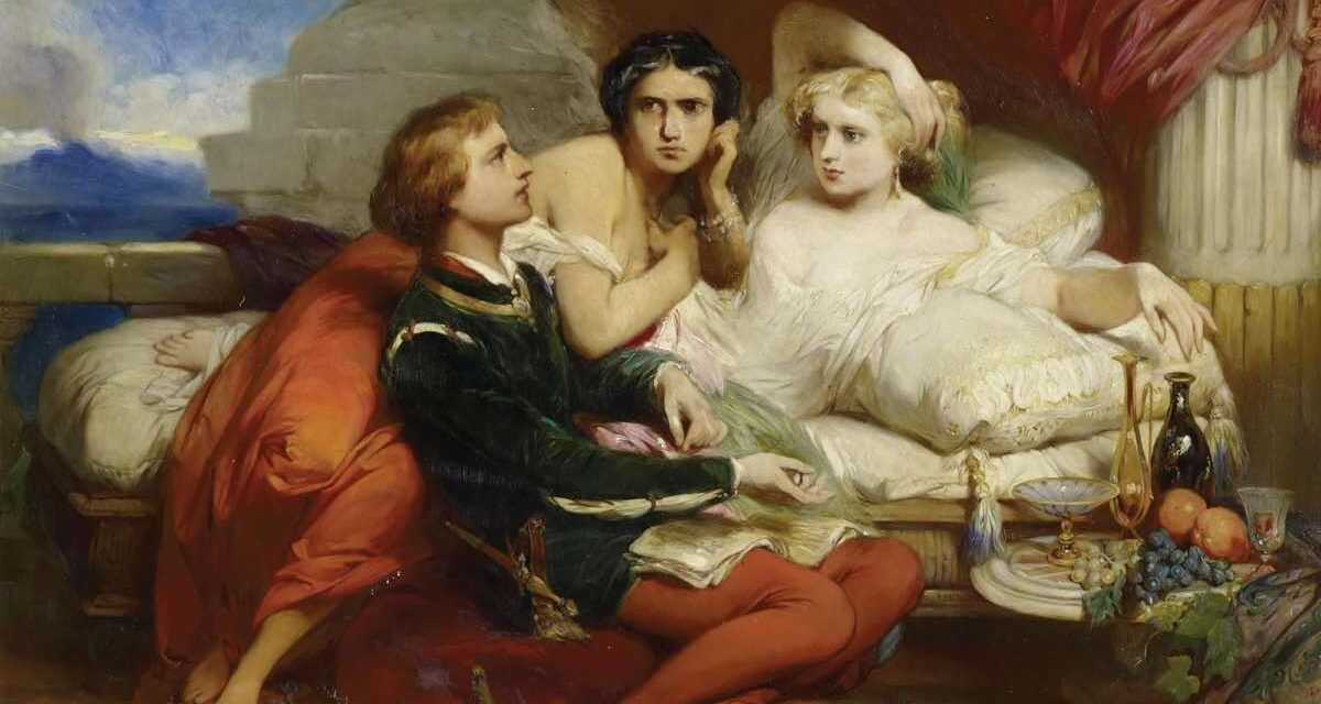 """""""Boccaccio lee el decameron a Juana de Nápoles"""" (1868), de Gustave Wappers"""