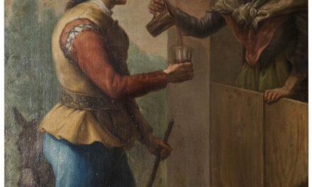 """""""Una anciana sirviendo un vaso de vino a un joven"""" (siglo XVIII), de Ramón Bayeu"""