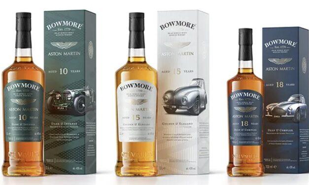 Bowmore y Aston Martin presentan un trío de whiskies inspirados en vehículos icónicos