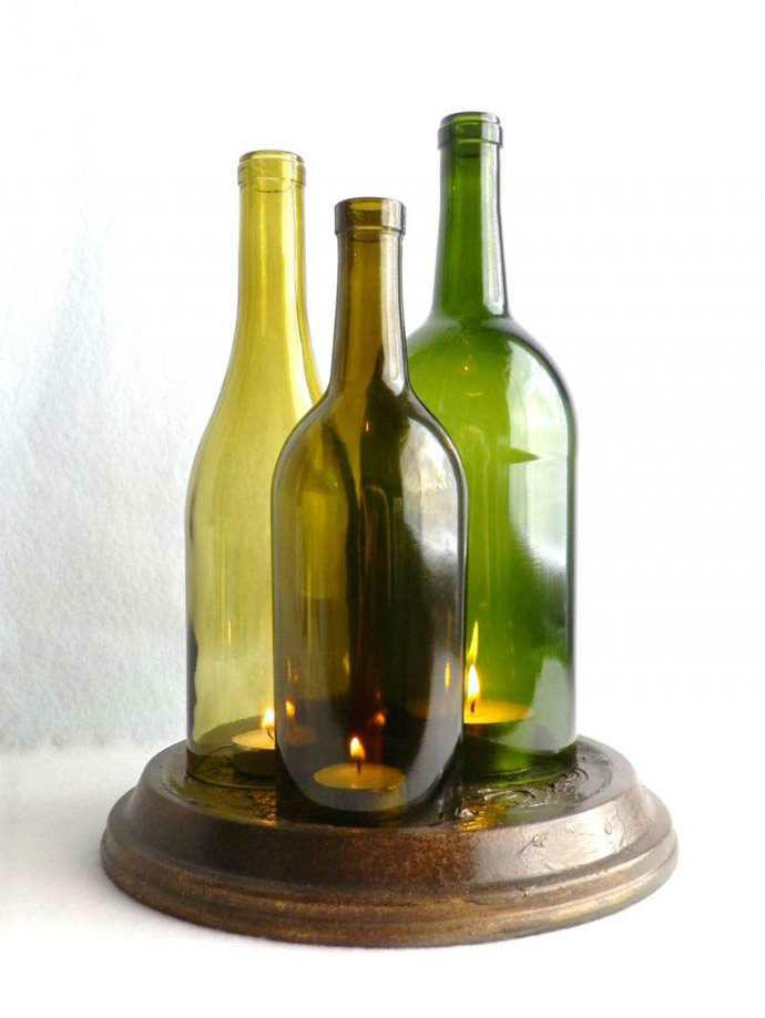 Vino reutilizar botella vela