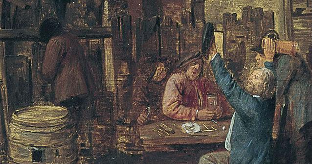 """""""Escena aldeana con hombres bebiendo"""" (1631-1635), de Adriaen Brouwer"""