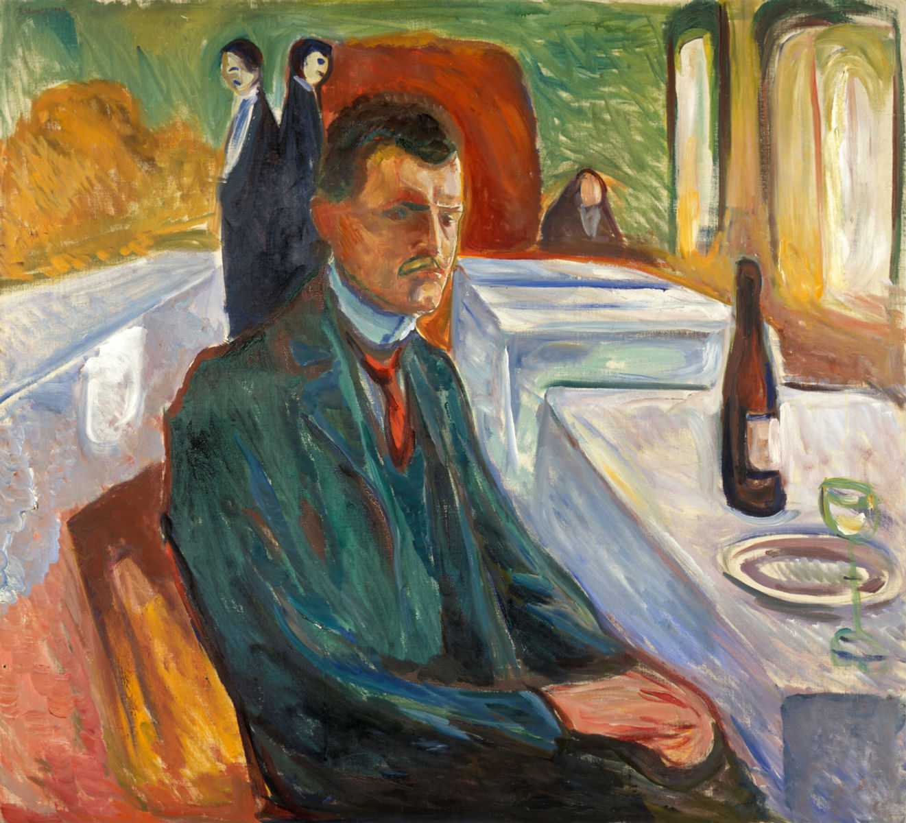 Edvard Munch Self Portrait with a Bottle of Wine Google