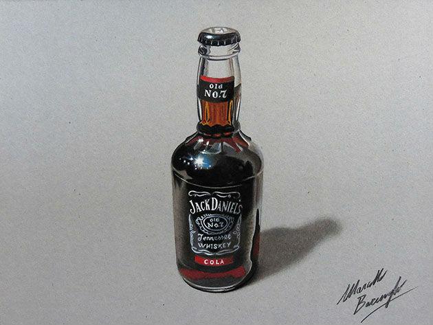 El dibujo de la botella de vodka que parece de verdad