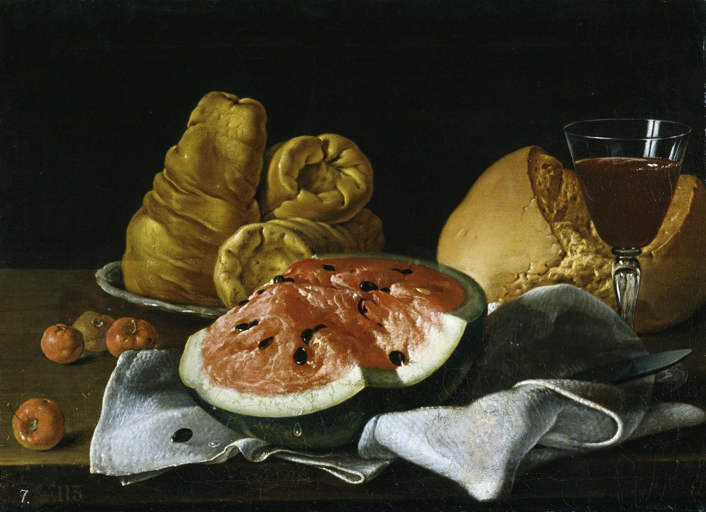 """""""Bodegón con sandía y acerolas, quesos, pan y vino"""" (1770), de Luis Egidio Meléndez"""