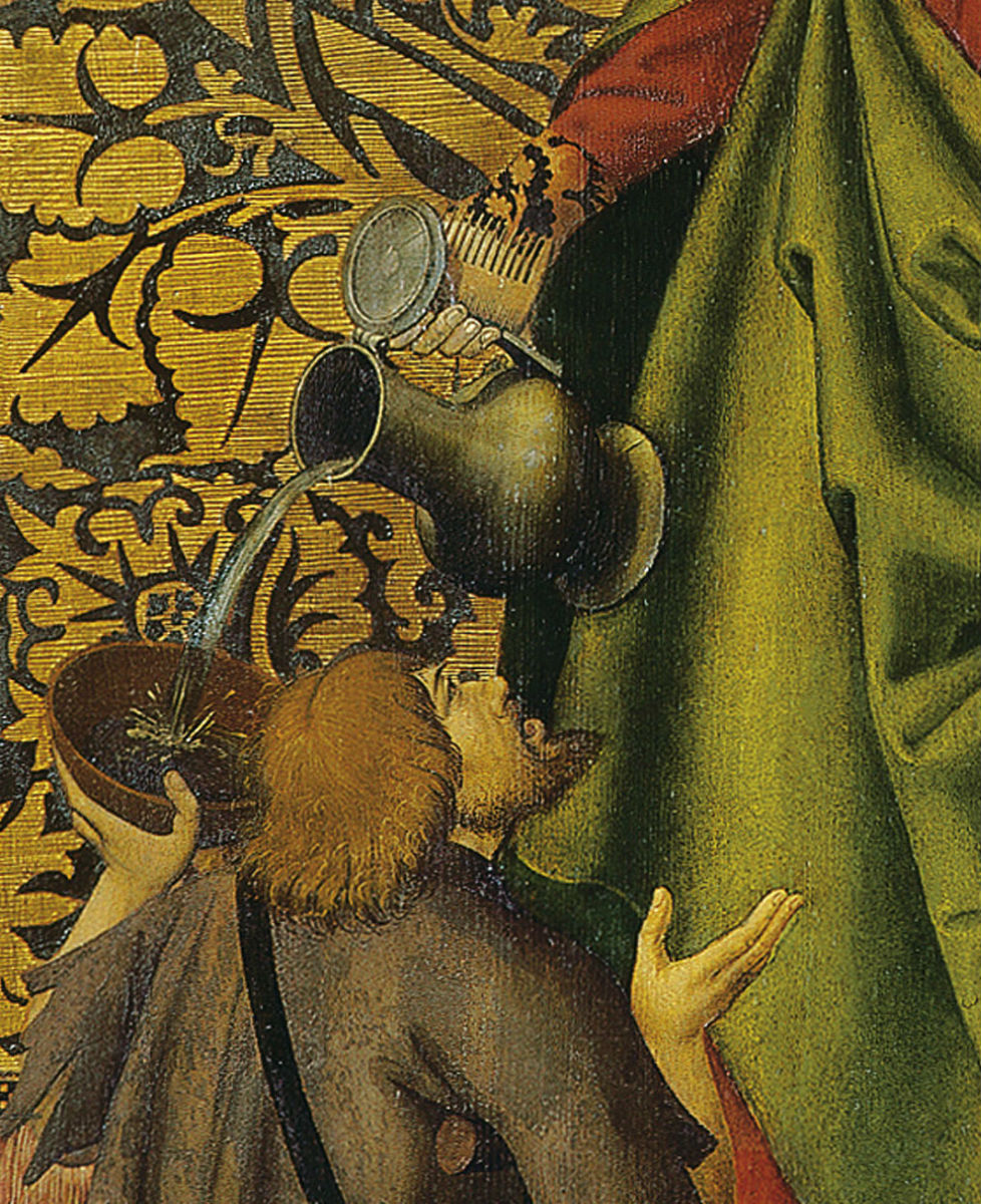 """""""Santa Isabel ofreciendo pan y vino a los mendigos"""" (c. 1515), obra anónima"""