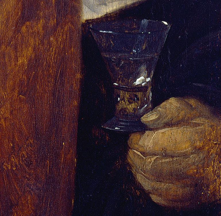 Dos campesinos con un vaso de vino (copa) Teniers