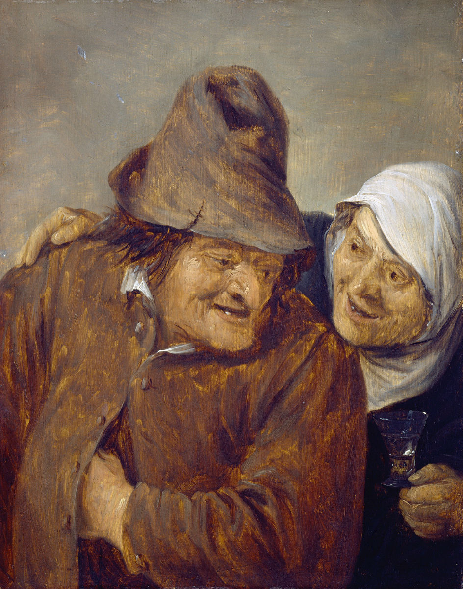 """""""Dos campesinos con una copa de vino"""" (1645), de David Teniers"""