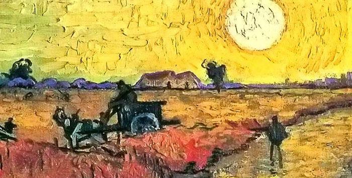 Van Gogh viñedo sol