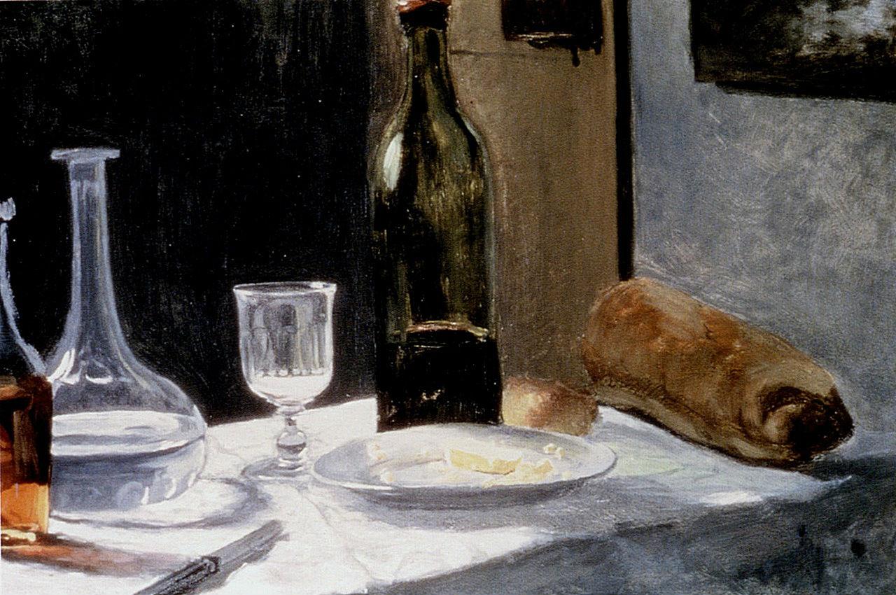 """""""Naturaleza muerta con jarra, botella, pan y vino"""" (1862-1863), de Claude Monet"""