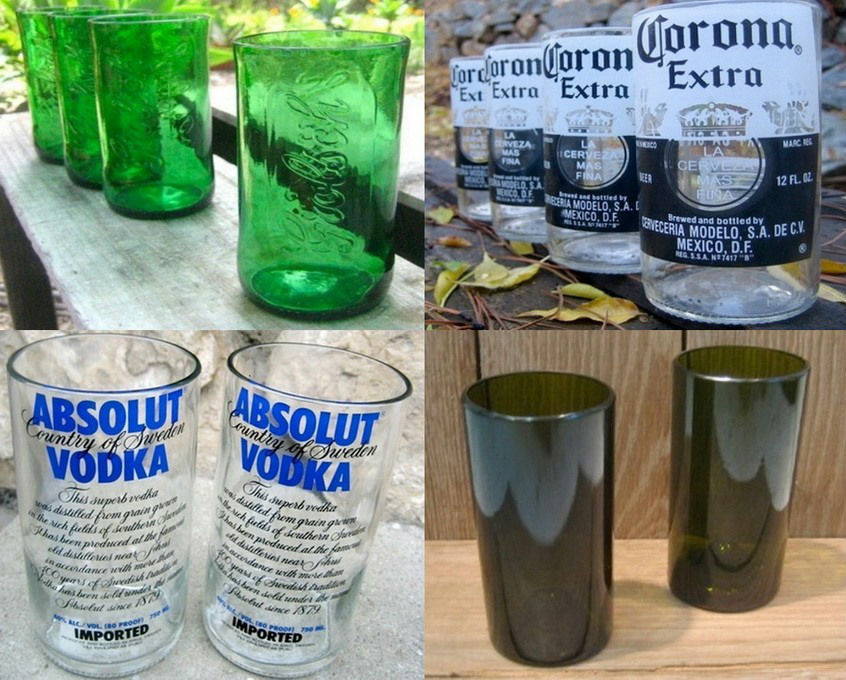 vasos hechos de botellas